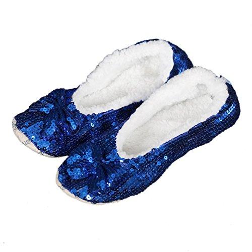 Snoozies Bling - flauschige, wärmende Kuschelschuhe, Hausschuhe, Farbe:blau;Größe:40/41