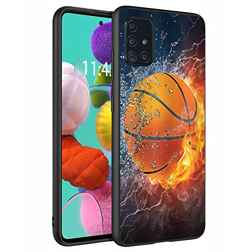 ChaTham for Samsung Galaxy A51 5G Case, [Not Fit A51 4G Version], Premium TPU Slim Anti-Scratch Silicone Protective Case Cover for Samsung Galaxy A51 5G (2020) - Burning Basketball Fire and Water