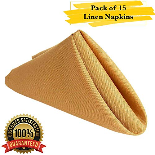 PrimeLyne Premium Polyester Dinner Napkins - 17x17 Stain and Wrinkle Resistant Linen Napkins with Hemmed Edges, Pack of 15 (Gold)