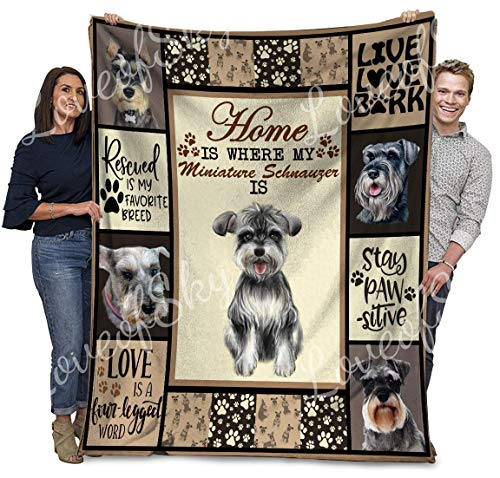 AEMAPE Schnauzer Dog Quilt Home is Where My Miniature Schnauzer ID Manta Patrón Edredones Edredones con algodón