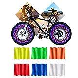 Riflettori a Raggi,Clip Riflettore a Raggi Ruota Bicicletta 6 colori / 72 pezzi Clip Riflettenti per Bambini &Adulti Bicicletta Facile da Montare