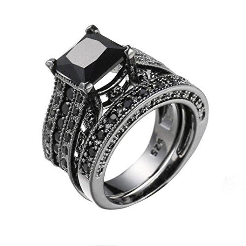 Keliay 2-in-1 Womens Vintage Black Diamond Silver Engagement Wedding Band Ring Set (Black, 7)