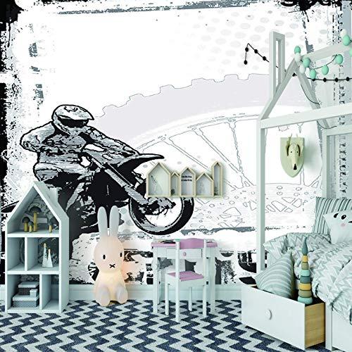 LucaSng 3D pintura mural adhesivo pared - Motocicleta deporte jinete - Pegatinas de Pared extraíble 3D Póster Decoración de la Pared Art Mural Pegatina Mural Restaurante Cafetería Pared Decoración Del