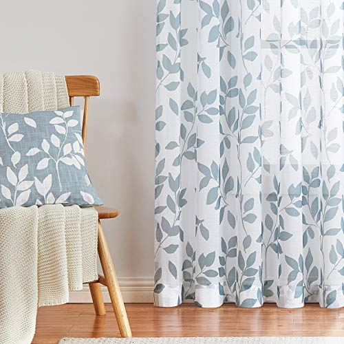 """White-Blue Leaf Sheer Curtains for Living Room Kids Men's Room 63"""" Length Natural Themed Print Curtain Panels Privacy Protected Short Window Treatment for Nursery Play Room Rod Pocket 2 Pack"""