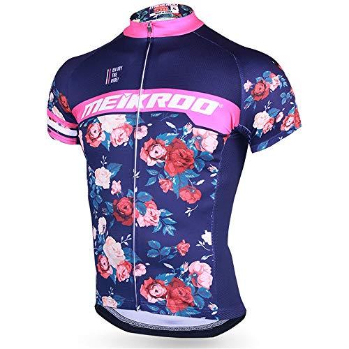 Vestimenta de Ciclismo Imprimir Montar en Bicicleta Camino Corto de la Manga de la Bici Top de Manga Corta a Caballo Jersey Camiseta de Verano Transpirable Ciclismo (Color : Rose, Size : XL)