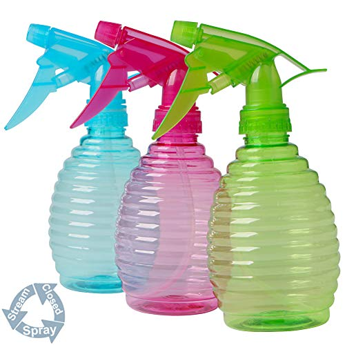 YANGTE 3 Botellas de Spray de Agua vacías de plástico con pulverizador de gatillo, Modos de Niebla Fina y de Flujo para Limpieza, jardinería, alimentación, 400 ml (Azul + Verde + Rosa)