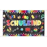 BETESSIN Schulkind Groß Banner Einschulung Banner Girlande Schulanfang Deko Schuleinführung Hintergrund Banner für Mädchen Jungen 180 × 110cm