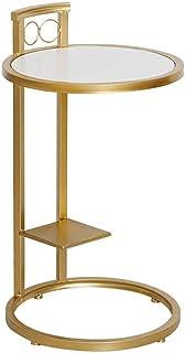 ZZHF La Table de Nuit Table d'appoint, Table Basse avec Support en Fer doré, canapé de Salon Rond, Table d'appoint en Boi...