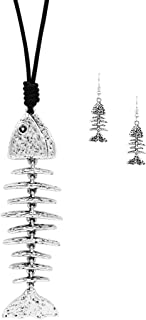 Rosemarie Collections Women's Textured Fish Bone Skeleton Necklace and Earrings Set
