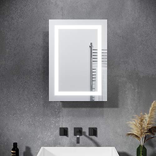 SONNI Spiegelschrank mit Beleuchtung 50 x 70 cm Badspiegelschrank mit Rasierersteckdose und Schiebetür Beschlagfrei Badezimmer Spiegelschrank mit Stecker und Kippschalter