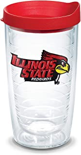 Tervis 1059165 Illinois State Redbirds Logo Tumbler with Emblem and Red Lid 16oz, Clear