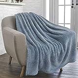 PAVILIA Fluffy Sherpa Throw Blanket for Couch Sofa   Plush Shaggy Fleece Blanket   Soft, Fuzzy, Cozy, Warm Microfiber Throw Solid Blanket, Dusty Slate Blue, 50x60