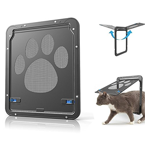 Abzon Pet Screen Door Interior Door, Sturdy Cat Window with Scratch Protector, Sliding Doggy Door with Magnetic Flap, Lockable Cat Door Insert.