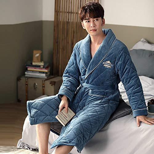 Nachthemd Für Männer,Winter Herren Pyjama Dicke Flanell Langarm Nachthemd Nachtwäsche Weiche Bequeme Bademäntel Nachthemd Lockeres Schlafhemd,Blau,3Xl