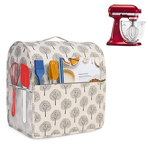 Yarwo Abdeckhaube Kompatibel mit Kitchen Aid Küchenmaschine Zubehör, Schutzhülle mit Oberem Griff für Standmixer Küchenmaschine und Zubehör (Passt für 4,3L und 4,8L Küchenmaschine), Baum