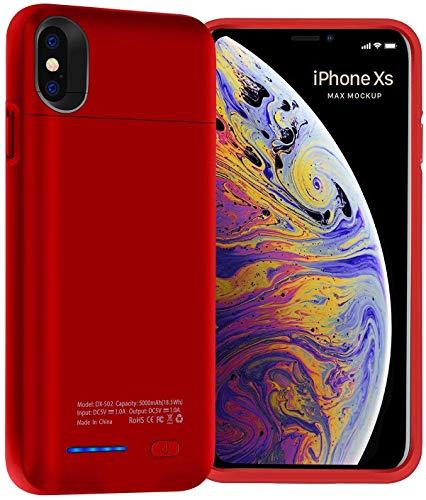HYZJA - Carcasa de batería para iPhone XS MAX, 5000 mAh, Fina, magnética, Funda portátil Recargable, Cargador de batería Externo, para iPhone XS MAX Power Bank Charger Case Rojo