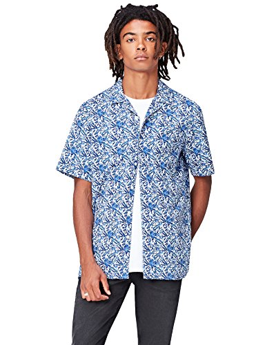 Marca Amazon - find. Camisa Hombre, Azul (Blue Botanical), L, Label: L