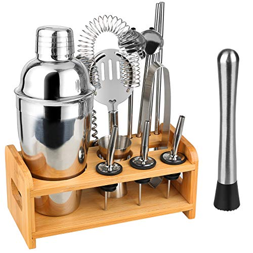 Bar Accessories Cocktail Shaker Bar Tools Bartender Kit with Stylish Bamboo Stand Stainless Steel Bar Set Premium Bartendering Tool Perfect for Home Traveling Outdoor Parties