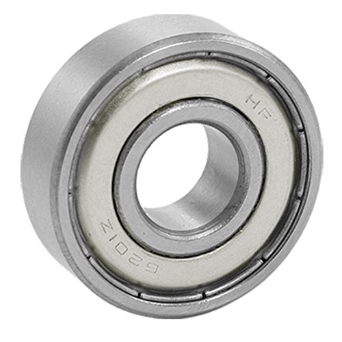 URBEST Silver Tone 6201Z Metal Dual Shielded Deep Groove Ball Bearing for Electric Motors