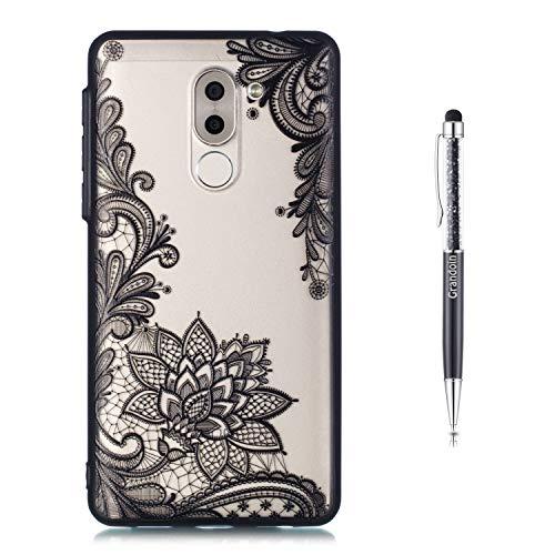 Huawei Honor 6X Hülle, 2 in 1 Ultra Dünne Schale Ultra Dünn Weich TPU Bumper Case Silikon Schutzhülle Handy Tasche für Huawei Honor 6X (Schwarzer Lotus)