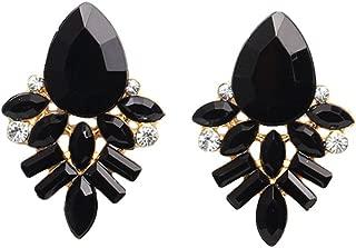 Refaxi Women Elegant Crystal Rhinestone Black Plated Ear Stud drop Earrings