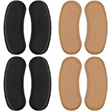 4 Pairs Heel Grips Heel Shoe Grip Liner Self Heel Inserts Cushion Pads Stickers Foot Care Protector Back of Heel Protector (Black, Brown)