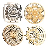ZenVizion 5.31' Sacred Geometry Set 4, Sri Yantra, Energy Centers Wheel of Life, Torus, Sun and Moon Union OM Wall Art, Home Decor, Yoga Hanging Symbol, Laser Cut Wooden Wall Sculpture, Car Hanger