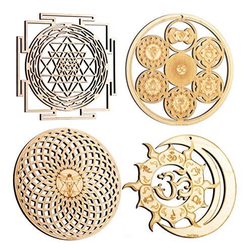 "ZenVizion 5.31"" Sacred Geometry Set 4, Sri Yantra, Energy Centers Wheel of Life, Torus, Sun and Moon Union OM Wall Art, Home Decor, Yoga Hanging Symbol, Laser Cut Wooden Wall Sculpture, Car Hanger"