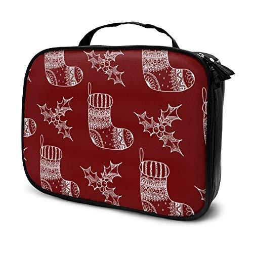 Sacs à cosmétiques pour les femmes voyagent, Seamless Pattern Of Christmas Decorative Symbol - Etui à chaussettes et houx