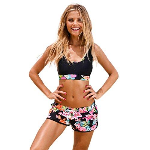 OverDose Damen Frauen-Mädchen-Lady Kostüm Padded Badeanzug Monokini Bademode Bikini Set Badeanzüge Swimwear Bathing Suits (Rosa,S)