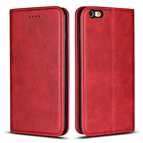 Copmob Funda iPhone 6 Plus,Funda iPhone 6S Plus,Flip Folio Magnético Billetera Funda de Cuero,[3 Ranuras][Soporte Plegable],Carcasa Cover Case Libro para iPhone 6s Plus/6 Plus - Rojo