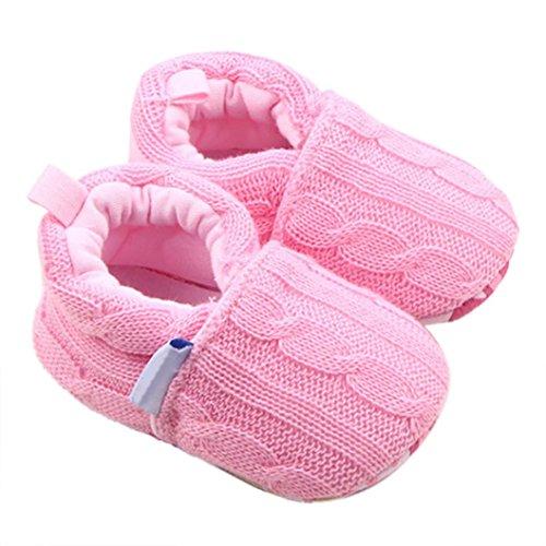 Chaussures de Bébé, LuckyGirls Semelle Souple Hiver Chaud Chaussures Bottes - Fil Laine - 0~18 Mois (Âge: 0~6 Mois, Rose)