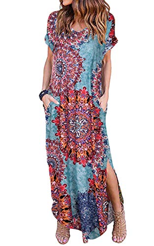 MAGIMODAC Maxikleid Sommerkleid Strandkleid Casual Kleid Freizeitkleid Kleider Lang für Damen mit Taschen