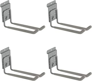 StoreWALL Heavy Duty Long Universal Slatwall Double Hook with CamLok (Pack of 4)