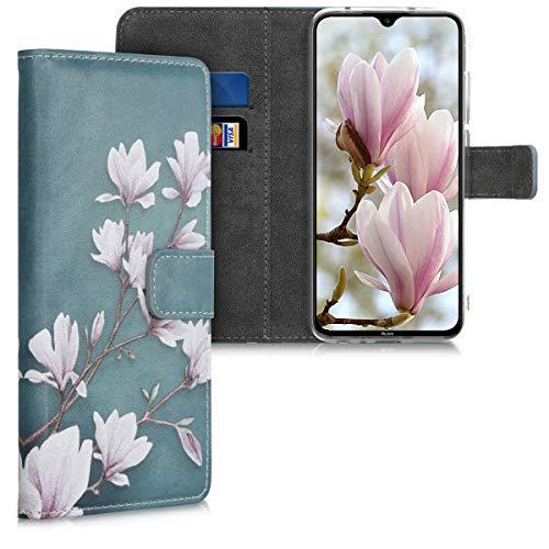 kwmobile Carcasa Compatible con Xiaomi Redmi Note 8 (2019/2021) - Funda de Cuero sintético Magnolias - con Tarjetero