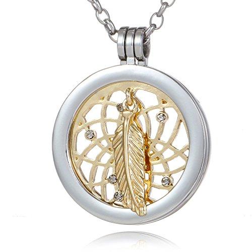 Morella Damen Halskette 70 cm Edelstahl und Anhänger mit Coin Traumfänger Gold 33 mm im Schmuckbeutel