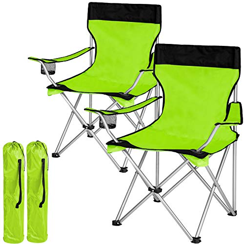 TecTake Sedia Pieghevole da Campeggio - con Borsa - Disponibile in Diversi Colori e quantità - (2X Nero-Verde   No. 401254)
