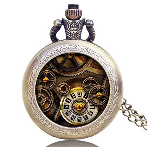 YIQIFEI Uhren, mechanische Holzuhren Taschenuhr, Geschenke Steampunk Wheel Gear Anhänger Stundenuhr Vintage Quarz Analoges rundes Zifferblatt Männer Frauen Ha