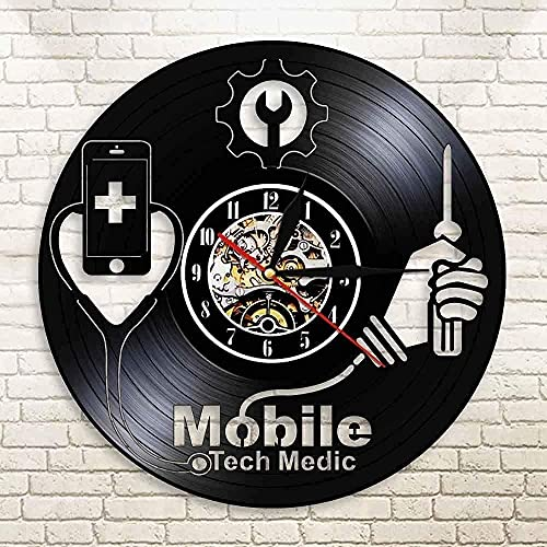hhhjjj Equipo de teléfono móvil Hospital Tienda de reparación de teléfonos móviles Arte de la Pared teléfono móvil Reloj de Pared Arte Disco de Vinilo Reloj de Pared