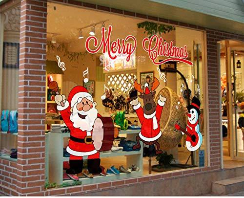 SHYSBV muurstickers kerstversiering raamdecoratie glazen deur muur stickers venster bloem sneeuwman