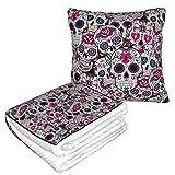Manta de almohada de terciopelo suave 2 en 1 con bolsa suave con calavera de azúcar, funda de almohada de tradición mexciana para casa, avión, coche, viajes, películas