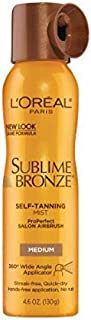 L'Oreal Paris Sublime Bronze ProPerfect Salon Airbrush Self-Tanning Mist Medium Natural Tan 4.6 Ounce (130gm) (2 Pack)