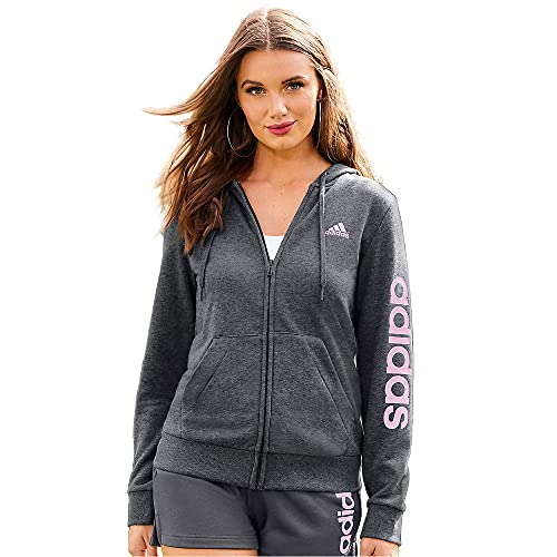adidas,Womens,Linear French Terry Full-Zip Hoodie,Dark Grey Heather/Clear Pink,1X