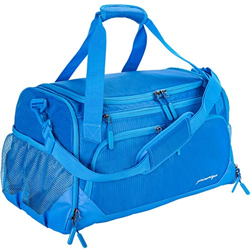 "Gym Bag, Sports Travel Duffel Bag with Shoes Compartment & Wet Pocket & Water Resistance Pouch, Men Women, 31L (17""), Blue"