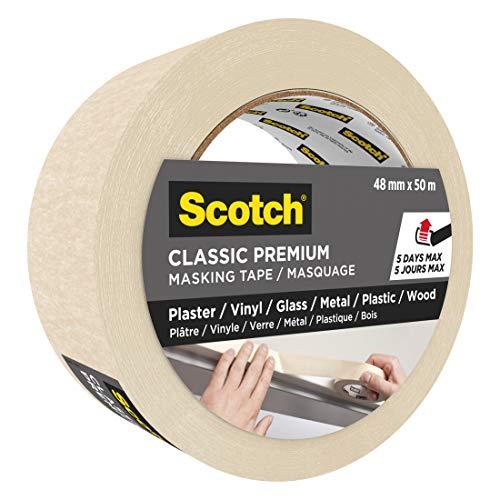 3M Scotch Scotch Greener Nastro Adesivo per Mascheratura, per Coprire e Proteggere le Superfici, Carta Avorio Velina 90 g/m² Certificata PEFC, 48 mm x 50 m, Beige, 1 Pezzo