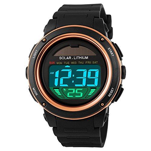 TONSHEN Unisex Solar Digital Uhren Mode LED Outdoor 50M Wasserdicht Sportuhr Plastik Militär Uhren Herrenuhr Damenuhr Kalender Armbanduhr, Gelb