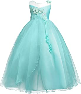 Girls Princess Tulle Lace Flower Pageant Dress Puffy Floor Length Wedding Bridesmaid Dress Party Tutu Maxi Gown