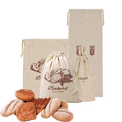 Linen Bread Bags for Homemade Bread,Pack of 4 Large Bread Bags,Natural Unbleached Reusable Linen Bags for Loaves,Baguettes and Grocery Storage,Ideal Organization Bags for Bakers.
