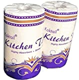 Koktail 2Ply Kitchen Paper Towel Roll - 300 Pulls/Roll - Pack of 2 - Absorbent Thick & Strong Tissue Paper