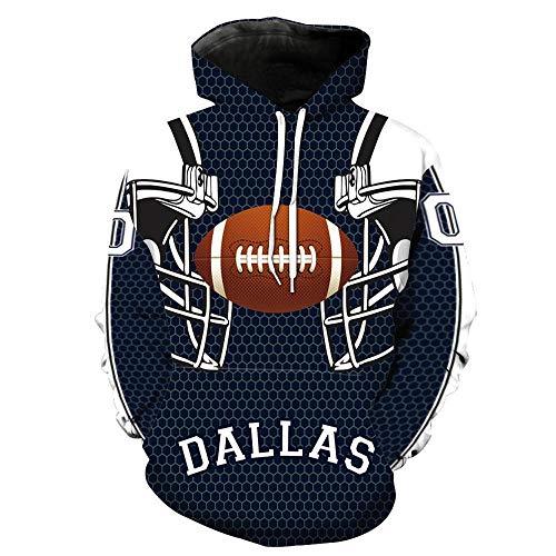 QAQQQ Unisex Hoodies Pullover NFL Dallas Cowboys Muster Sport Langärmlig Warm Sweatshirt A-XXXXXL
